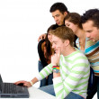 Group of on a laptop — Stock Photo