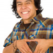 Man doing a heart shape — Stock Photo