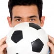 Stock Photo: Mwith foot ball