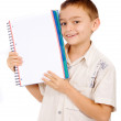 School boy student with a notebook — Stock Photo