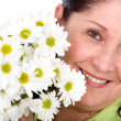 Foto Stock: Womwith flowers