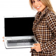 Business woman with laptop — Stock fotografie