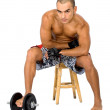 Man with free weights - Stock Photo