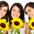 Friends with flowers — Stockfoto