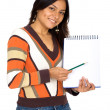 Student with a notebook — Stock Photo