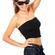 Stock Photo: Smiling woman portrait - sunglasses