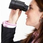 Business woman with binoculars — Stock Photo #7766157