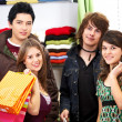 Happy friends shopping — Stock Photo
