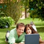 Couple on a laptop — Stock Photo