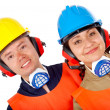 Couple of manual workers - Stock Photo
