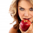 Woman with an apple - Foto Stock
