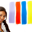 Female artist choosing colours — Stock Photo