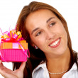 Stock Photo: Girl holding a gift