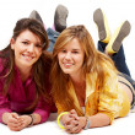 Teenage girls smiling — Stock Photo