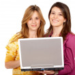 Casual girls on a laptop — Stock Photo