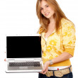 Casual woman with laptop — Stock Photo #7767187