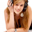 Student listening to music — Foto de Stock