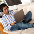 Music on a laptop — Stock Photo