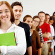 College students and a teacher — Stock Photo