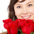 Fashion girl with roses — Stock Photo