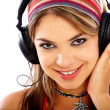 Girl listening to music - Stock Photo