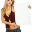 Woman holding a banner add — Stock Photo #7767640