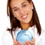 Business woman - globe map — Stock Photo