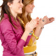 Girls clapping — Stock Photo
