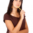 Casual pensive woman — Stock Photo