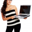 Business woman on a laptop - Stockfoto