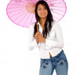 Woman with a pink umbrella — Stock Photo