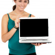 Business woman displaying a laptop — Stock Photo #7767857