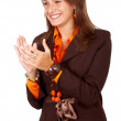 Business woman clapping — Stock Photo