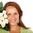 Woman with white roses — Stockfoto