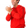 Casual man clapping - Stok fotoraf
