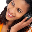 Black woman listening to music — Stock Photo