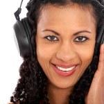 Casual woman enjoying the music — Stock Photo