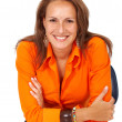 Business woman smiling — Stock Photo