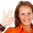 Business woman okay sign — Foto Stock