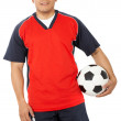 Stock Photo: Male footballer with a football