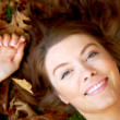 Beautiful autumn woman portrait smiling — Foto de Stock