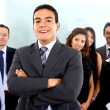 Business man leading a team — Stock Photo