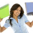 Student smiling with notebooks — Stock Photo