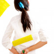 Girl painting in yellow — Stock Photo