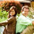 Happy couple smiling outdoors — Stock Photo #7768673