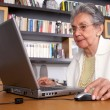 Eldery woman on a laptop — Stock Photo