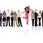 Zespół firmy - kobiety stały — Zdjęcie stockowe