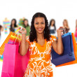 Stok fotoğraf: Group of women shopping