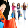 Stock Photo: Group of girls shopping