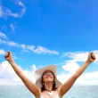 Beach woman success — Stock Photo